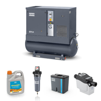 11kW Screw Compressed Air Bundle: Compressor, Separator, Filter, Drain, Oil