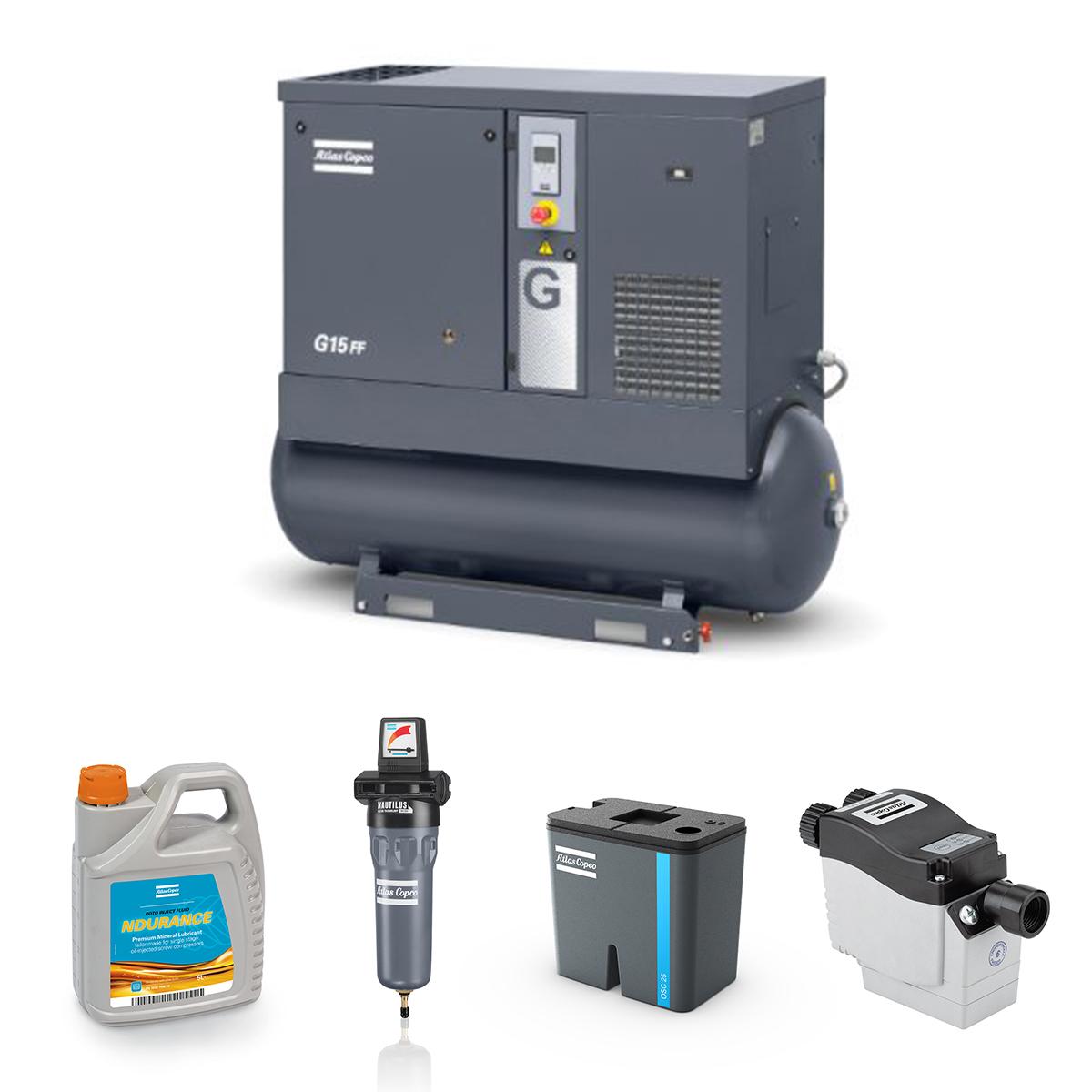 18kW Screw Compressed Air Bundle: Compressor, Separator, Filter, Drain, Oil