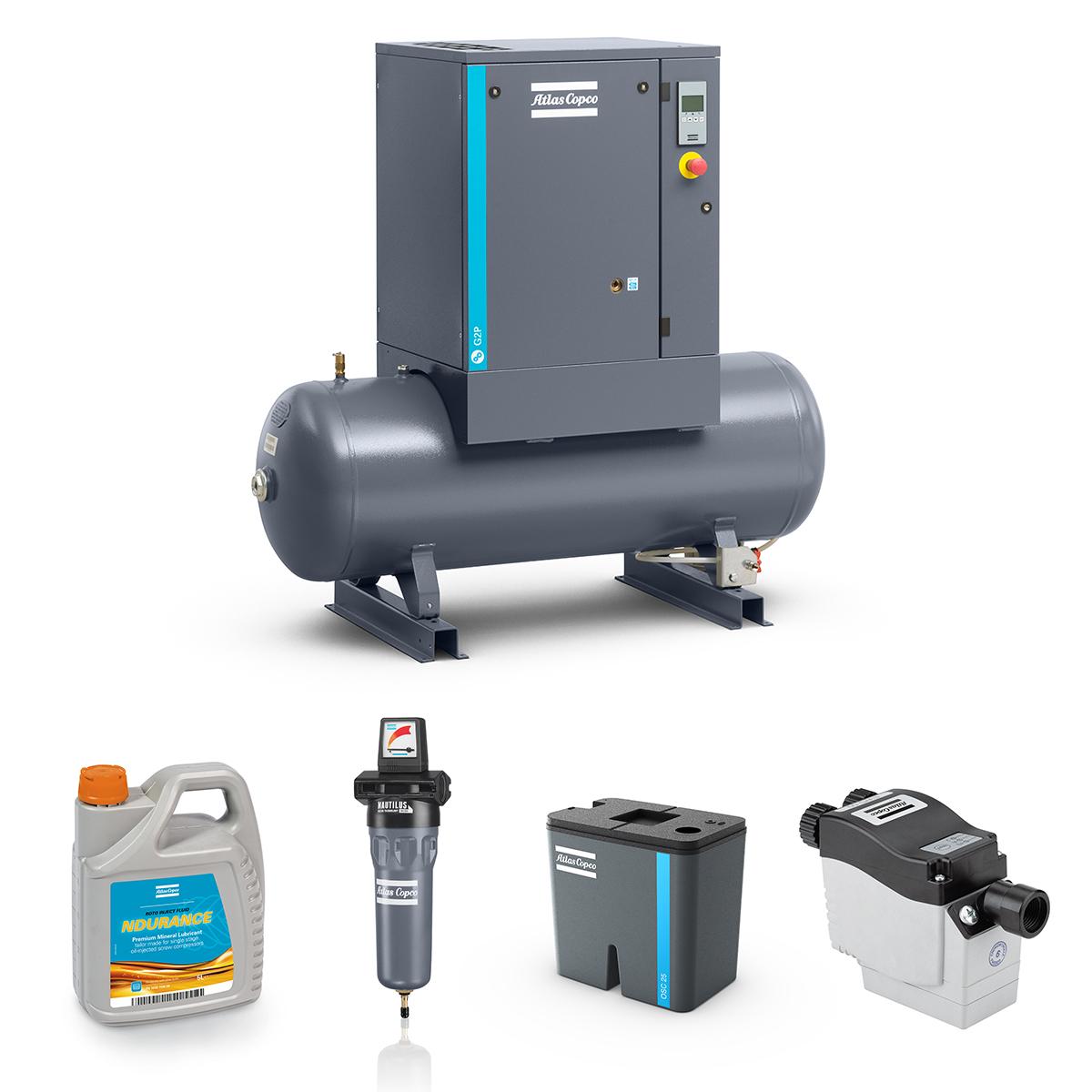 2.2kW Screw Compressed Air Bundle: Compressor, Separator, Filter, Drain, Oil