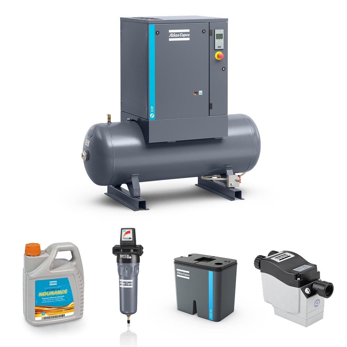 4kW Screw Compressed Air Bundle: Compressor, Separator, Filter, Drain, Oil