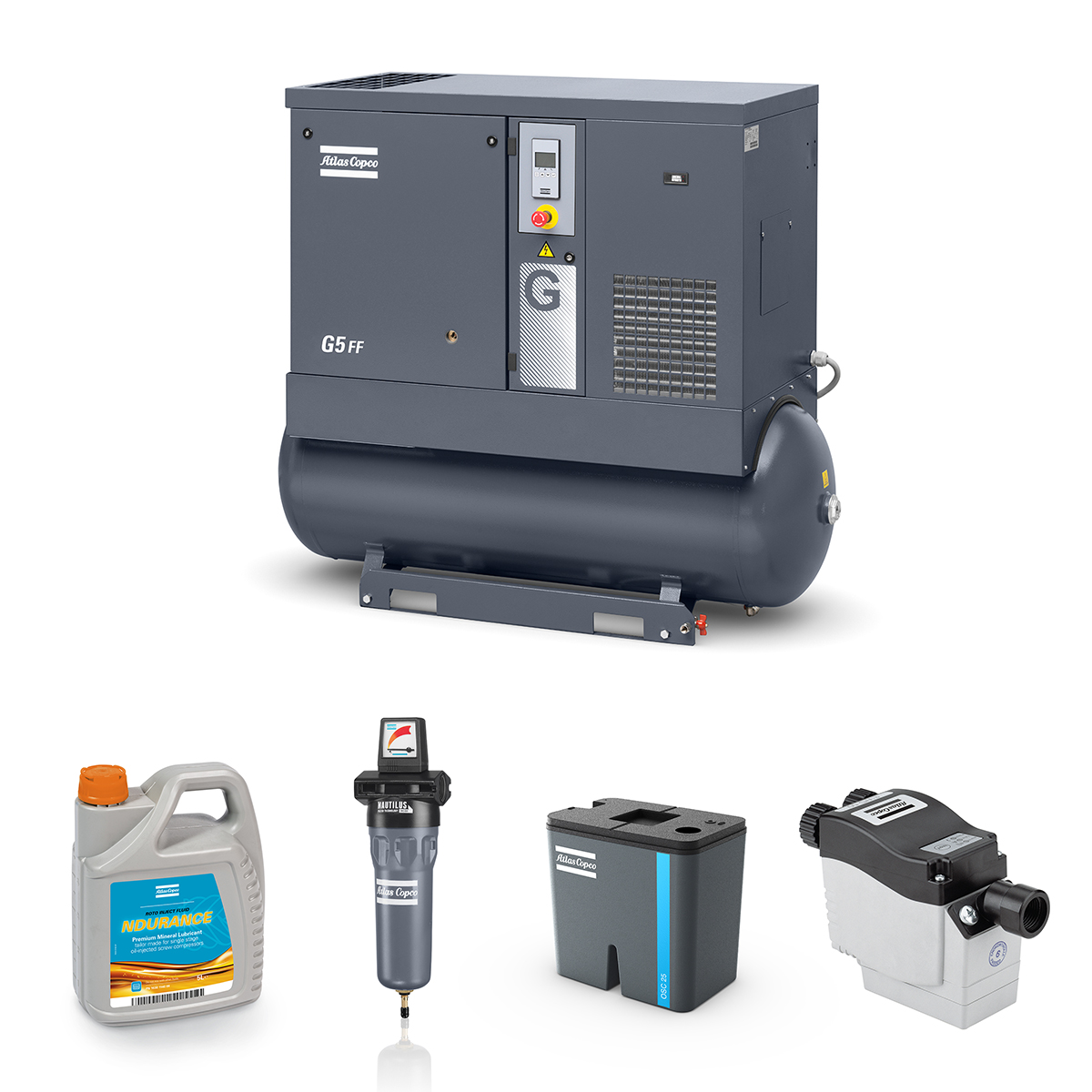 5kW Screw Compressed Air Bundle: Compressor, Separator, Filter, Drain, Oil