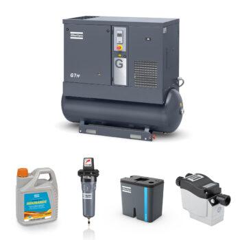 7kW Screw Compressed Air Bundle: Compressor, Separator, Filter, Drain, Oil